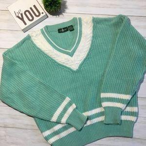 Vintage 80s preppy V neck sweater